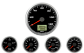 "3-3/8"" Speedometer Gauge Speedhut 120mph programmable 2-1/16"" Speedhut Oil Pressure Gauge 0-100psi 2-1/16"" Speedhut Water Temp Gauge 120-260F 2-1/16"" Speedhut Fuel Level Gauge (programmable) 2-1/16"" Speedhut Volt Gauge 0-18V"