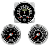 "5-1/2"" CJ GPS Speedometer Cluster 90mph - Speedo, Fuel Level, Temp 2-1/16"" CJ Oil Pressure Gauge 0-100psi 2-1/16"" CJ Volt Gauge 0-18V"