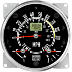 "5-1/2"" CJ GPS Speedometer Cluster 90mph/140KMH (Inclinometer Option) - Speedo, Fuel Level, Temp"