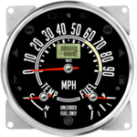 "5-1/2"" CJ GPS Speedometer Cluster 90mph (Inclinometer Option) - Speedo, Fuel Level, Temp"