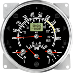 "5-1/2"" CJ GPS Speedometer Cluster 90mph/140KMH with Tachometer (Inclinometer Option) - Speedo, Fuel Level, Temp, Tach"
