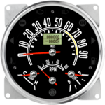 "5-1/2"" CJ GPS Speedometer Cluster 90mph with Tachometer (Inclinometer Option) - Speedo, Fuel Level, Temp, Tach"