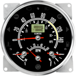 "5-1/2"" CJ GPS Metric Speedometer Cluster 140KMH/90mph with Tachometer (Inclinometer Option) - Speedo, Fuel Level, Temp, Tach"
