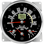 "5-1/2"" CJ GPS Metric Speedometer Cluster 140km/h with Tachometer (Inclinometer Option) - Speedo, Fuel Level, Temp, Tach"