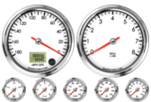 GPS Speedometer Gauge 180mph (Counter Clockwise) Tachometer Gauge 8K RPM Oil Pressure Gauge 0-100psi Oil Temp Gauge 140-300F Water Temp Gauge 120-260F Fuel Level Gauge (programmable) Volt Gauge 0-18V