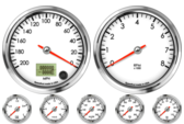 Speedometer Gauge 200mph programmable  (Counter Clockwise) Tachometer Gauge 8K RPM Oil Pressure Gauge 0-100psi Oil Temp Gauge 140-300F Water Temp Gauge 120-260F Fuel Level Gauge (programmable) Volt Gauge 0-18V