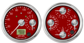 Dual Gauge - 120mph GPS speedometer / 8K Tachometer (w/ turn signal and high beam) Quad Gauge - Oil psi, Water Temp, Fuel Level, Volts