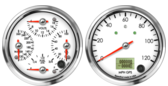 GPS Speedometer Gauge 120mph (w/ turn signal and high beam) Quad Gauge - Oil psi, Water Temp, Fuel Level, Volts