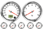Speedometer Gauge 260km/h Metric programmable  (Counter Clockwise) Tachometer Gauge 8K RPM Oil Pressure Gauge 0-100psi Oil Temp Gauge 60-150C Metric Water Temp Gauge 50-125C Metric Fuel Level Gauge (programmable) Volt Gauge 0-18V