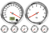 Speedometer Gauge 300km/h Metric programmable  (Counter Clockwise) Tachometer Gauge 8K RPM Oil Pressure Gauge 0-100psi Oil Temp Gauge 60-150C Metric Water Temp Gauge 50-125C Metric Fuel Level Gauge (programmable) Volt Gauge 0-18V