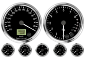 Speedometer Gauge 300km/h Metric programmable  (Counter Clockwise) Tachometer Gauge 8K RPM Shift-light Oil Pressure Gauge 0-100psi Oil Temp Gauge 60-150C Metric Water Temp Gauge 50-125C Metric Fuel Level Gauge (programmable) Volt Gauge 0-18V