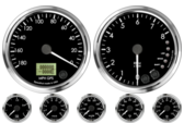 GPS Speedometer Gauge 180mph (Counter Clockwise) Tachometer Gauge 8K RPM Shift-light Oil Pressure Gauge 0-100psi Oil Temp Gauge 140-300F Water Temp Gauge 120-260F Fuel Level Gauge (programmable) Volt Gauge 0-18V