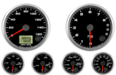 GPS Speedometer Gauge 160mph Tachometer Gauge 8K RPM Shift-light Oil Pressure Gauge 0-100psi (w/ warning) Water Temp Gauge 120-260F (w/ warning) Fuel Level Gauge (programmable) (w/ warning) Volt Gauge 0-18V (w/ warning)