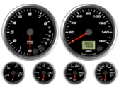 Speedometer Gauge 160mph programmable Tachometer Gauge 8K RPM Shift-light Oil Pressure Gauge 100 psi (w/ warning) Water Temp Gauge 120-260F (w/ warning) Fuel Level Gauge (programmable) (w/ warning) Volt Gauge 0-18V (w/ warning)