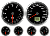 Speedometer Gauge 200mph programmable Tachometer Gauge 8K RPM Shift-light Oil Pressure Gauge 100 psi (w/ warning) Water Temp Gauge 120-260F (w/ warning) Fuel Level Gauge (programmable) (w/ warning) Volt Gauge 0-18V (w/ warning)