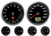 Speedometer Gauge 200mph programmable Tachometer Gauge 10K RPM Shift-light Oil Pressure Gauge 100 psi (w/ warning) Water Temp Gauge 120-260F (w/ warning) Fuel Level Gauge (programmable) (w/ warning) Volt Gauge 0-18V (w/ warning)