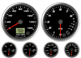 GPS Speedometer Gauge 160mph Tachometer Gauge 8K RPM Shift-light Oil Pressure Gauge 100 psi (w/ warning) Water Temp Gauge 120-260F (w/ warning) Fuel Level Gauge (programmable) (w/ warning) Volt Gauge 0-18V (w/ warning)