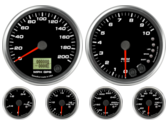 GPS Speedometer Gauge 200mph Tachometer Gauge 10K RPM Shift-light Oil Pressure Gauge 100 psi (w/ warning) Water Temp Gauge 120-260F (w/ warning) Fuel Level Gauge (programmable) (w/ warning) Volt Gauge 0-18V (w/ warning)