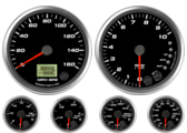 GPS Speedometer Gauge 160mph Tachometer Gauge 10K RPM Shift-light Oil Pressure Gauge 0-100psi (w/ warning) Water Temp Gauge 120-260F (w/ warning) Fuel Level Gauge (programmable) (w/ warning) Volt Gauge 0-18V (w/ warning)
