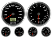 GPS Speedometer Gauge 200mph Tachometer Gauge 10K RPM Shift-light Oil Pressure Gauge 0-100psi (w/ warning) Water Temp Gauge 120-260F (w/ warning) Fuel Level Gauge (programmable) (w/ warning) Volt Gauge 0-18V (w/ warning)