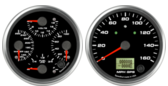 GPS Speedometer Gauge 160mph  (w/ turn signal and high beam) Quad Gauge - Oil psi, Water Temp, Fuel Level, Volts