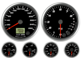 GPS Speedometer Gauge 260km/h Metric Tachometer Gauge 8K RPM Shift-light Oil Pressure Gauge 0-100psi (w/ warning) Water Temp Gauge 50-125C Metric (w/ warning) Fuel Level Gauge (programmable) (w/ warning) Volt Gauge 0-18V (w/ warning)
