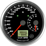 "4"" Dual Gauge - 260km/h Metric GPS Speedometer / 8K Tachometer (w/ turn signal and high beam)"