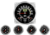 "5-1/2"" CJ GPS Speedometer Cluster 90mph - Speedo, Fuel Level, Temp 2-5/8"" CJ Tachometer 6K RPM 2-5/8"" CJ Clock 2-1/16"" CJ Oil Pressure Gauge 0-100psi 2-1/16"" CJ Volt Gauge 0-18V"