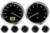 "4"" GPS Speedometer 180mph (Counter Clockwise) 4"" Tachometer 8K RPM 2-1/16"" Oil Pressure Gauge 0-100psi 2-1/16"" Oil Temp Gauge 140-300F 2-1/16"" Water Temp Gauge 120-260F 2-1/16"" Fuel Level Gauge (programmable) 2-1/16"" Volt Gauge 0-18V"