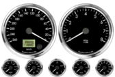 "4"" Speedometer 260km/h Metric programmable (Counter Clockwise) 4"" Tachometer 8K RPM 2-1/16"" Oil Pressure Gauge 0-100psi 2-1/16"" Oil Temp Gauge 60-150C Metric 2-1/16"" Water Temp Gauge 50-125C Metric 2-1/16"" Fuel Level Gauge (programmable) 2-1/16"" Volt Gauge 0-18V"