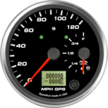 "4"" Dual Gauge - 120mph GPS Speedometer / Fuel Level (w/ turn signal and high beam)"