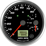 "4"" Dual Gauge - 80mph GPS Speedometer / Fuel Level (w/ turn signal and high beam)"