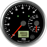 "4"" Dual Gauge - 8K Tachometer / 120mph GPS Speedometer (w/ turn signal and high beam)"