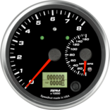 "4"" Dual Gauge - 8K Tachometer / 160mph GPS Speedometer (w/ turn signal and high beam)"