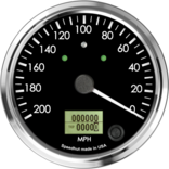 "4"" Speedometer 200mph programmable (Counter Clockwise with turn signals and high beams)"