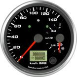 "4"" Dual Gauge - 140km/h Metric GPS Speedometer / Fuel level (w/ turn signal and high beam)"