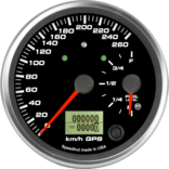 "4"" Dual Gauge - 260km/h Metric GPS Speedometer / Fuel Level (w/ turn signal and high beam)"