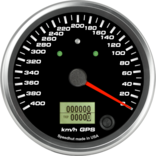 "4"" GPS Speedometer 400km/h Metric (Counter Clockwise with turn signals and high beam)"