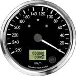 "4"" Speedometer 260km/h Metric programmable (Counter Clockwise with turn signals and high beam)"