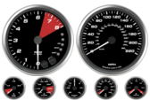 "4-1/2"" Ford GT Speedometer 4"" Ford GT Tachometer with Shift lights 2-5/8"" Ford GT Volt Gauge 2-5/8"" Ford GT Oil psi Gauge 2-5/8"" Ford GT Boost Gauge 2-5/8"" Ford GT Water temp gauge 2-5/8"" Ford GT Fuel level Gauge"