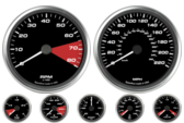 "4-1/2"" Ford GT Speedometer 4"" Ford GT Tachometer No Shift Lights 2-5/8"" Ford GT Volt Gauge 2-5/8"" Ford GT Oil psi Gauge 2-5/8"" Ford GT Boost Gauge 2-5/8"" Ford GT Water temp gauge 2-5/8"" Ford GT Fuel level Gauge"