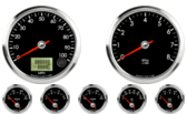 "3-3/8"" Speedometer 100mph programmable 3-3/8"" Tachometer 8K RPM 2-1/16"" Oil Pressure Gauge 0-100psi (90° Sweep) 2-1/16"" Water Temp Gauge 100-250F (90° Sweep) 2-1/16"" Trans Temp Gauge 100-250F (90° Sweep) 2-1/16"" Fuel Level Gauge (programmable) (90° Sweep) 2-1/16"" Volt Gauge 6-18V (90° Sweep)"